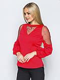 Изящная блузка однотонная с длинным рукавом украшенная бусинами, фото 2