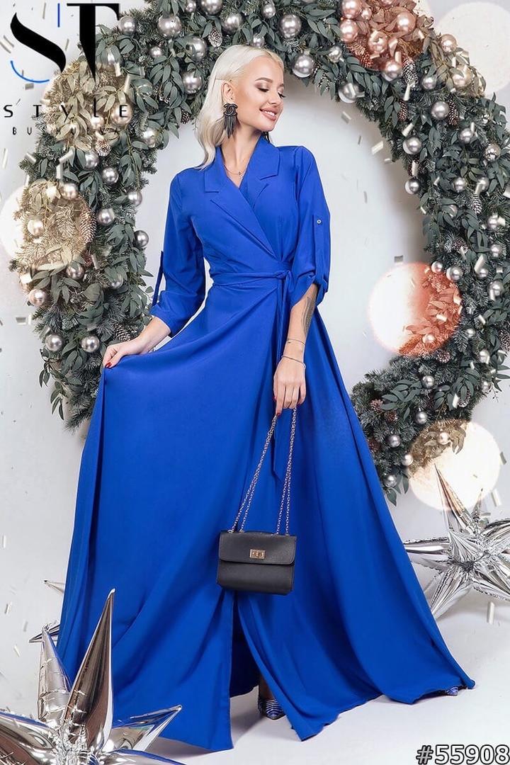 Женское длинное вечернее платье на запах размеры 42-46 электрик