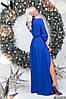 Женское длинное вечернее платье на запах размеры 42-46 электрик, фото 3