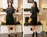 """Стильное женское платье с россыпью из блесток ткань """"Трикотаж"""" 54, 56, 58, 60, 62 размер батал 54"""