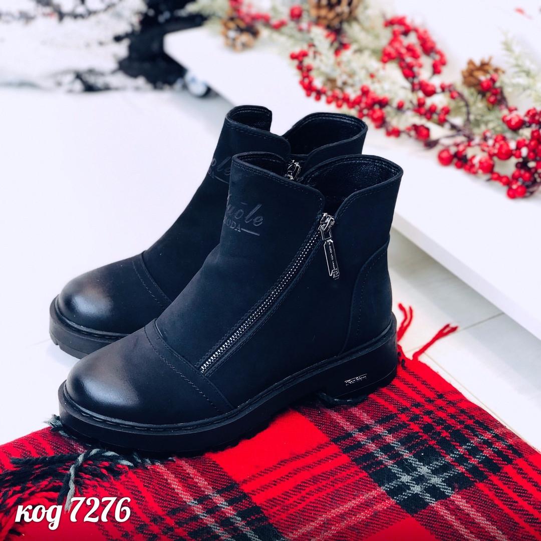 Женские зимние черные ботинки на молнии сбоку