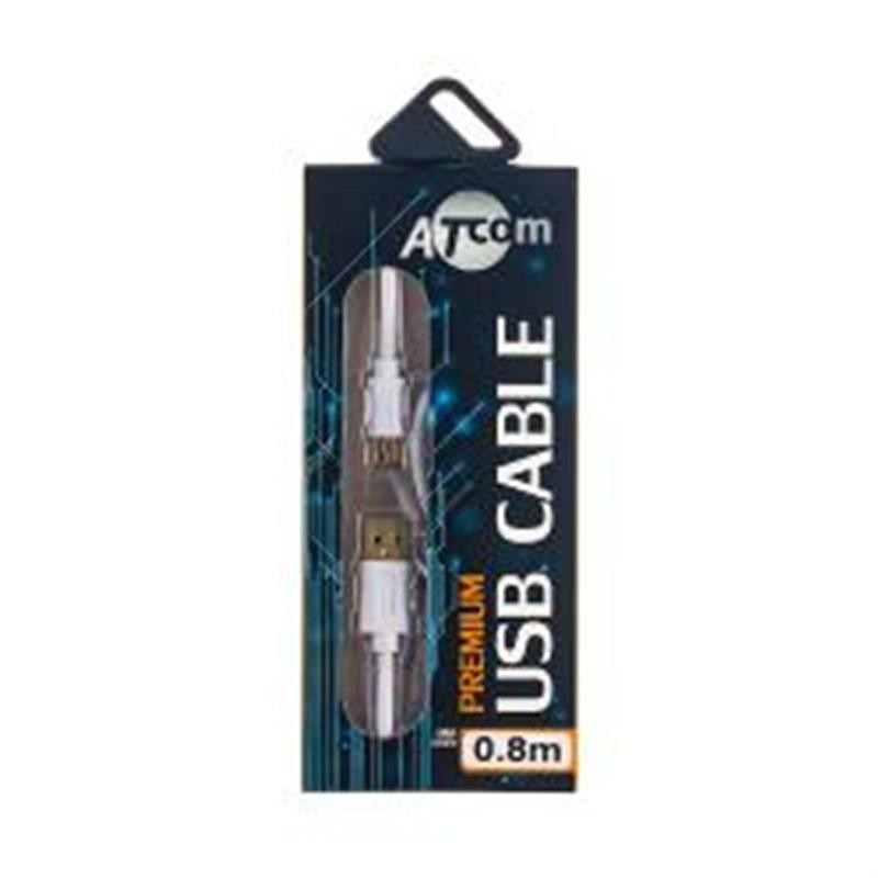 Кабель Atcom (17295) USB 2.0 AM/miniUSB, 0.8м, белый