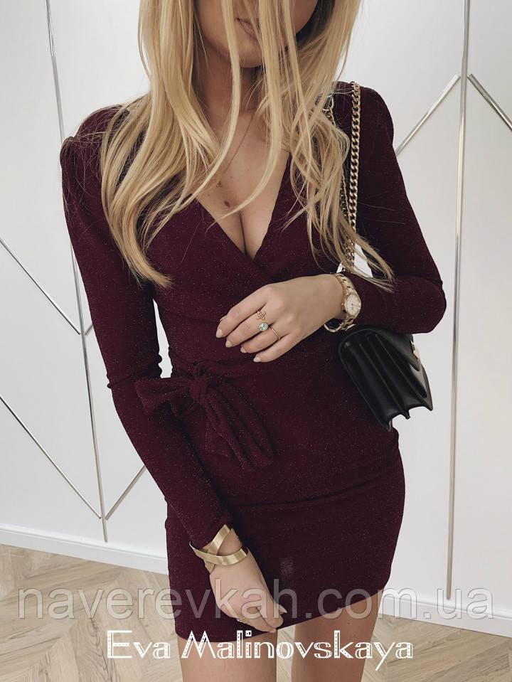 Женское платье люрекс бордо черный синий S M