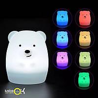 Силиконовый светодиодный ночник детский Click Медведь 8 см