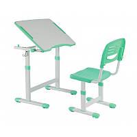 Комплект Парта с наклонной столешницей и стул-трансформеры для детей 3 - 10 лет ТМ FunDesk Piccolino II Green