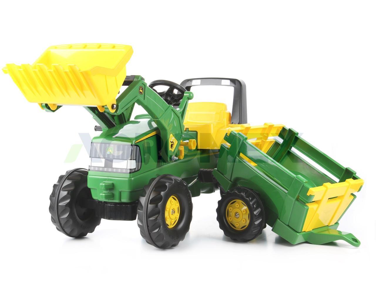 Трактор детский на педалях с прицепом Junior John Deere Rolly Toys