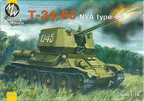 Сборная модель советского среднего танка Т-34/85 в масштабе 1/72. MILITARY WHEELS 7210