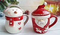 Новогодняя кружка на подарок. Санта и Снеговик. Подарунок на новий рік.