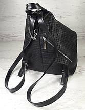 """291-1 Натуральная кожа, Городской рюкзак кожаный черный рюкзак женский черный рюкзак с карабином """"антивор"""", фото 3"""