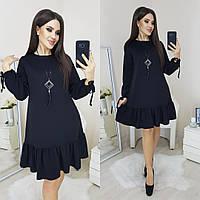 Платье с воланом трикотажное женское ЧЕРНОЕ (ПОШТУЧНО), фото 1