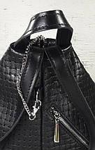 """291-1 Натуральная кожа, Городской рюкзак кожаный черный рюкзак женский черный рюкзак с карабином """"антивор"""", фото 2"""