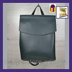 Молодежный сумка-рюкзак зеленого  цвета