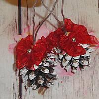 Новогоднее украшение из натуральной сосновой шишки - игрушка на елку (ручная работа)