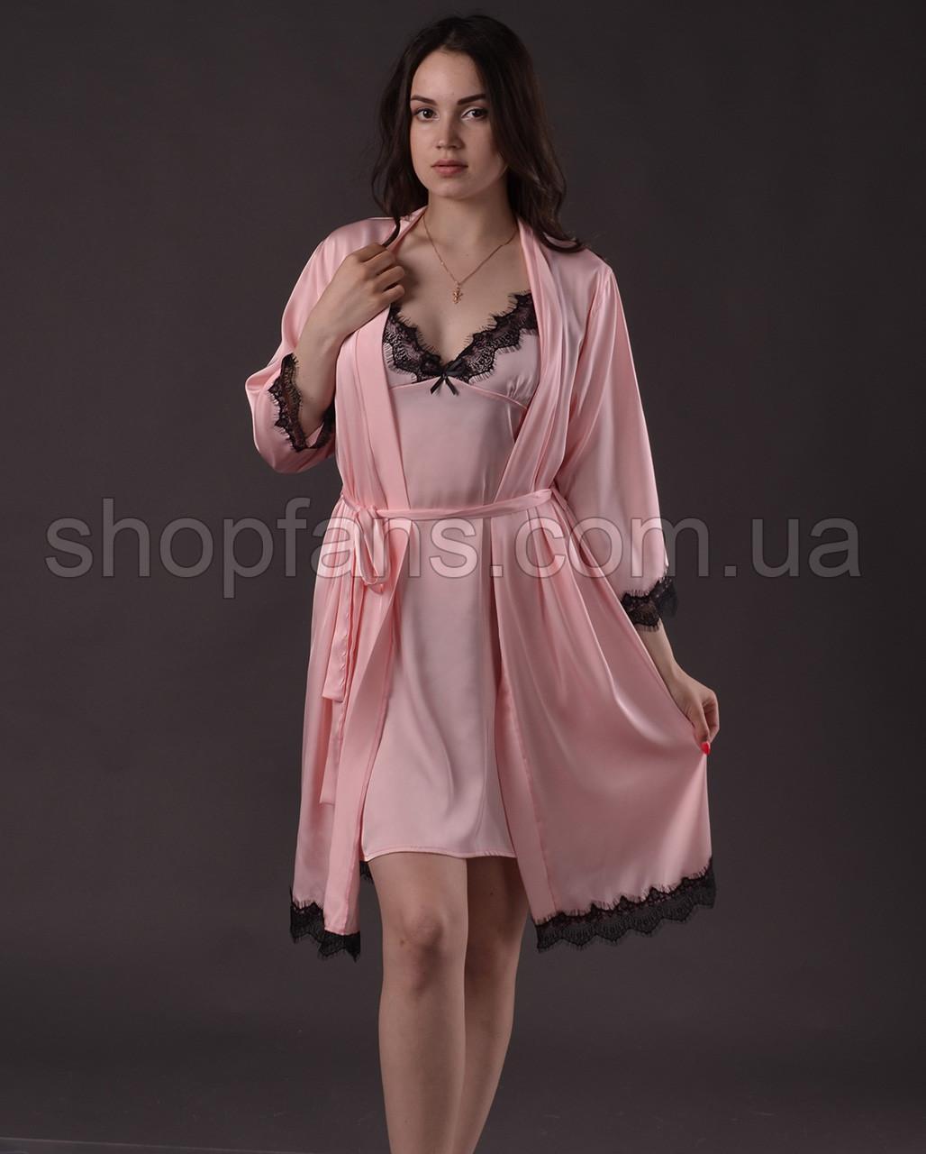 Комплект женский ( пеньюар + халат )  из шелка Армани с французским кружевом Шантильи