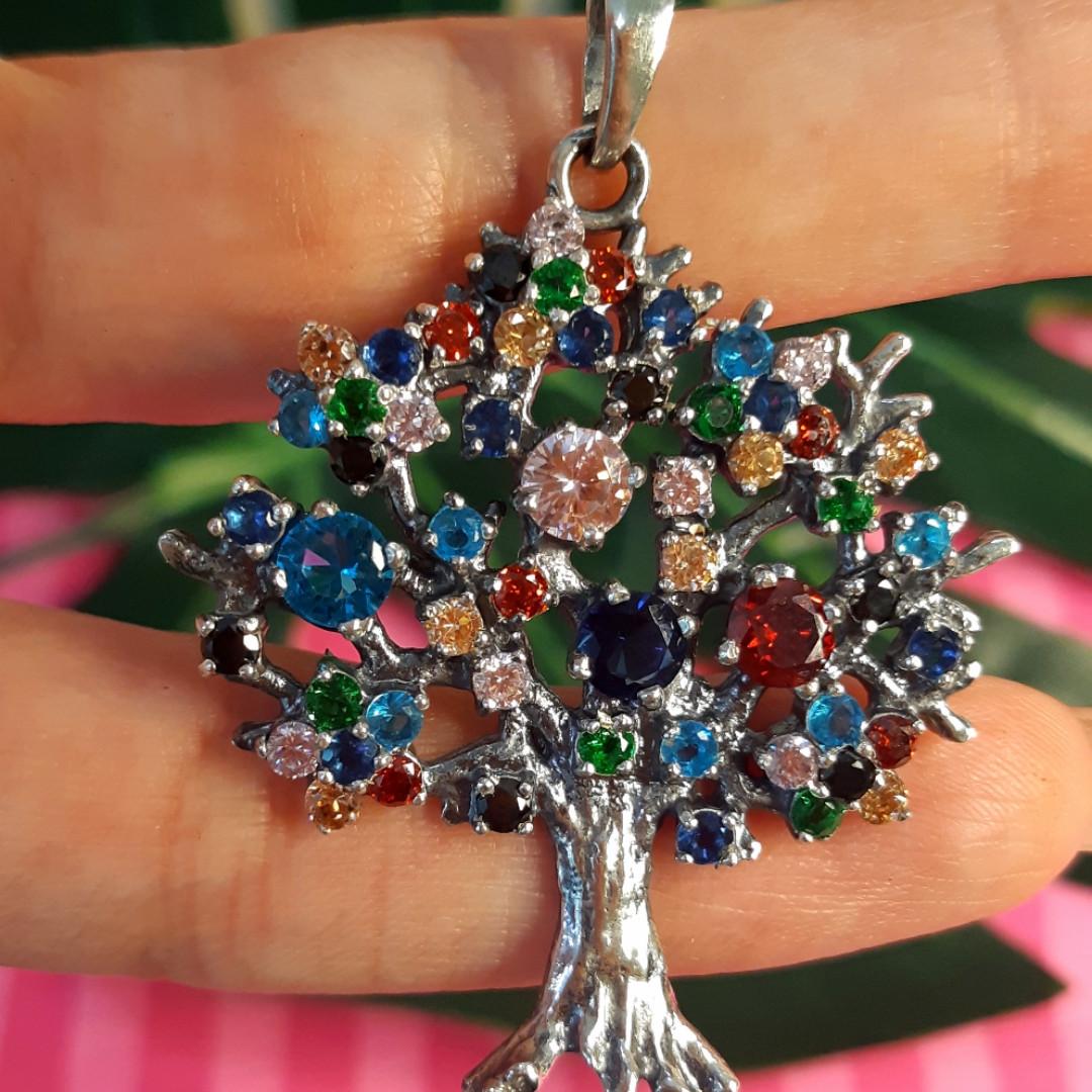 Серебряный кулон Дерево Жизни с цветными камнями - Кулон Семейное Дерево серебро