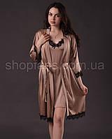 Комплект женский ( пеньюар + халат )  из шелка Армани с французским кружевом Шантильи, фото 1