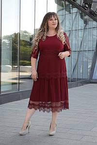 Нарядное женское платье батал с кружевом 54-64 р