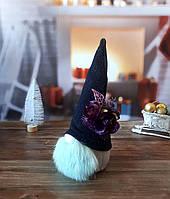 Новогодний декор для интерьера - гном в черничной шляпе