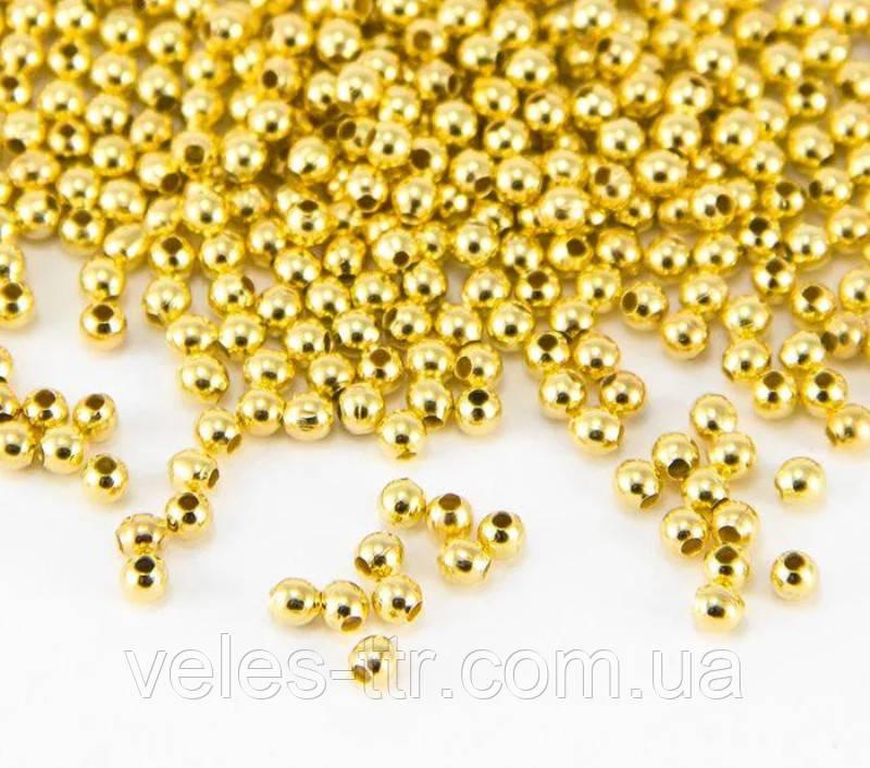 Бусина спейсер Шар металлическая разделитель золото 2 мм 50 шт железо