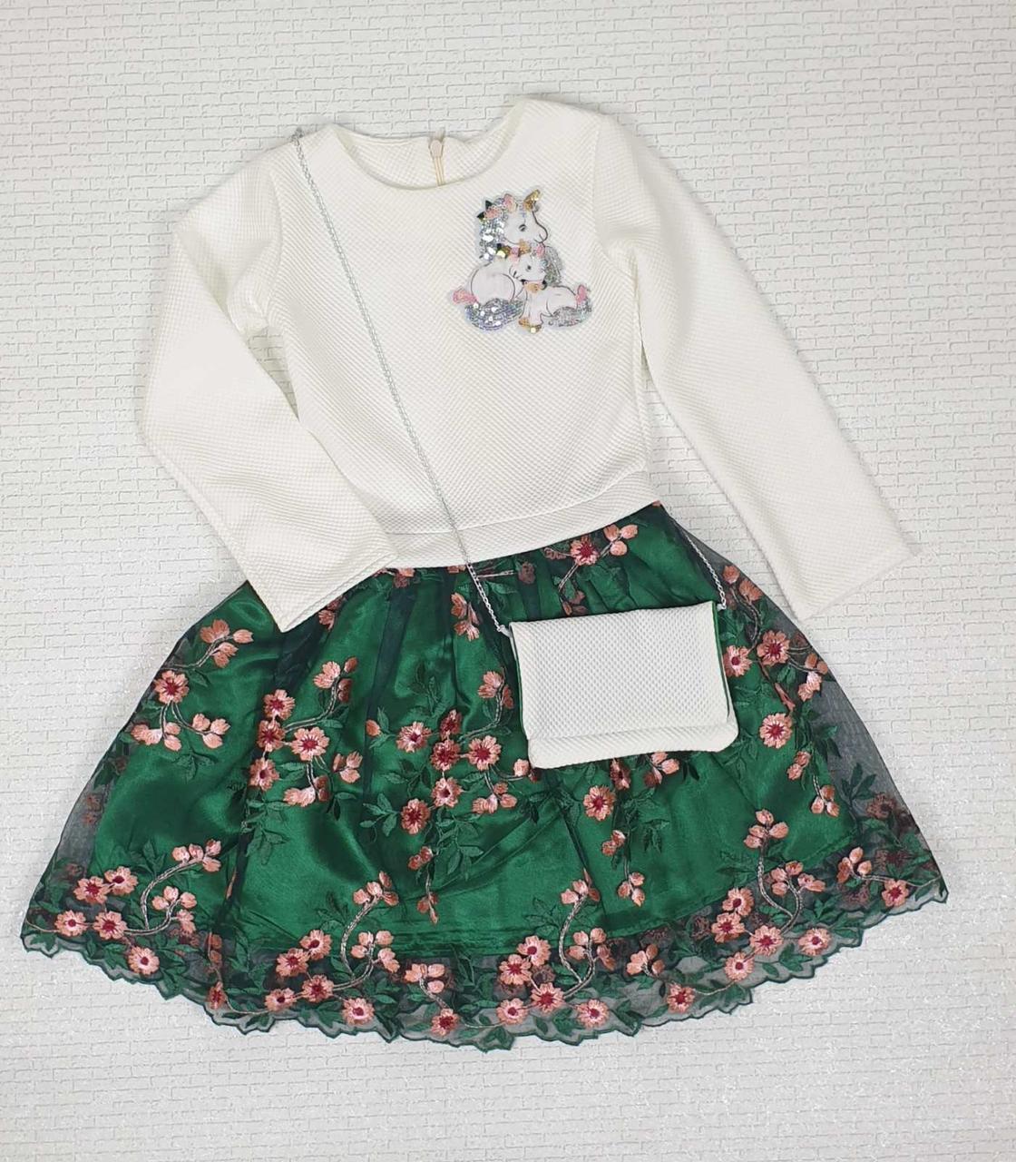 Детское платье для девочки с сумочкой р.98-110 опт белый+зеленый