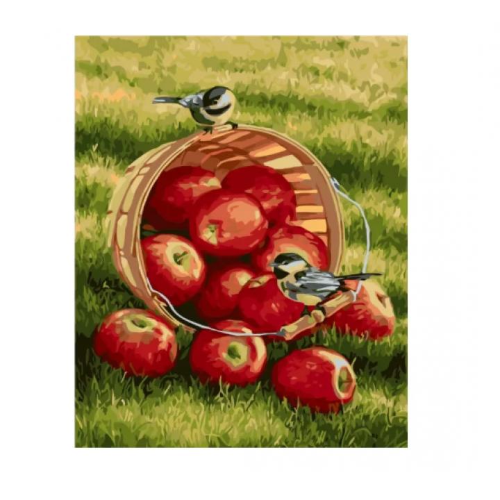 """Набір для розпису по номерах Идейка """"Тварини, птахи. Хрусткі яблучка"""", 40х50см, КНО2469"""