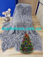 Подарок в год Мышки Покрывало плед травка 220х240 бамбуковое мех пушистик с длинным ворсом Koloco Светло серый