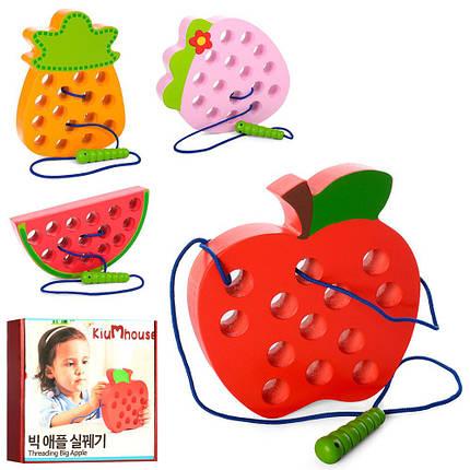 """Дерев'яна іграшка """"Шнурівка"""", фрукти, 4 види, MD1228, фото 2"""