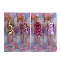 Кукла DEFA, платье-пайетки, сумочка, 4 вида, 8435