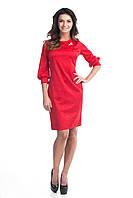 Красное коктейльное платье с брошкой