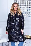 Женская зимняя теплая куртка плащевка на синтепоне черный бордо бутылка 42 44 46 48-50, фото 1