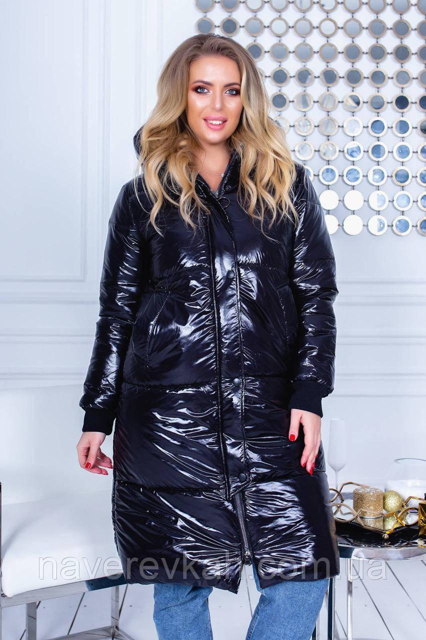Женская зимняя теплая куртка плащевка на синтепоне черный бордо бутылка 42 44 46 48-50