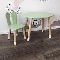 Детский деревянный набор круглый столик и стульчик. 100% дерево массив бук