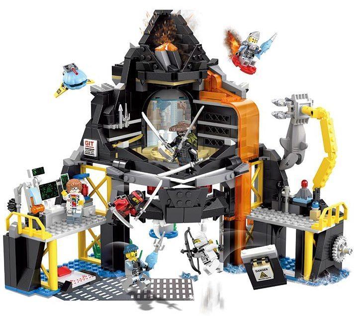 Конструктор Будинок-вулкан гармадона 689 деталей JVToy 16007 серія Герої ніндзя