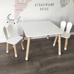 Дитячий дерев'яний набір квадратний столик і стільчик. 100% дерево масив бук