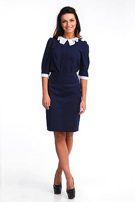 Офисная синяя блуза из крепшифона