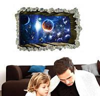 Декоративная наклейка космос 3D (90х60см)
