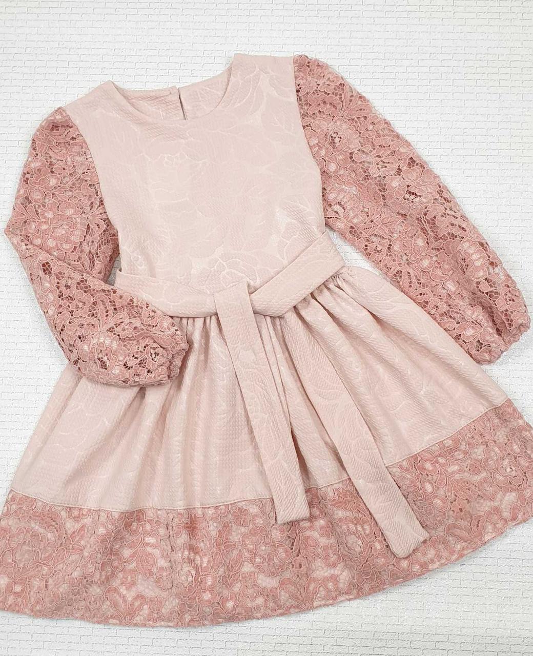 Платье для девочки нарядное р.122-140 опт пудра