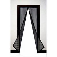 Москитная сетка на магнитах антимоскитная штора на дверь Magic Mesh Черная