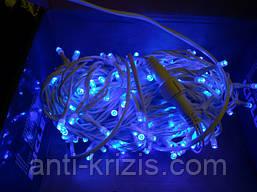 ВИДЕО-Светодиодная УЛИЧНАЯ гирлянда нить синий свет, 10м, 100 led, 8мм белый провод, с мерцанием!