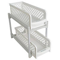 Органайзер для хранения для ванной и кухни Basket Drawers Portable на 2 съемные секции
