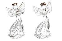 Елочное украшение Ангел 6.5см, 2 вида, набор 12 шт