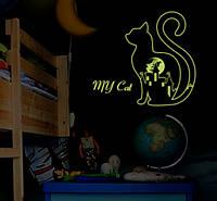 Декоративная наклейка светится в темноте котик (73х60см)