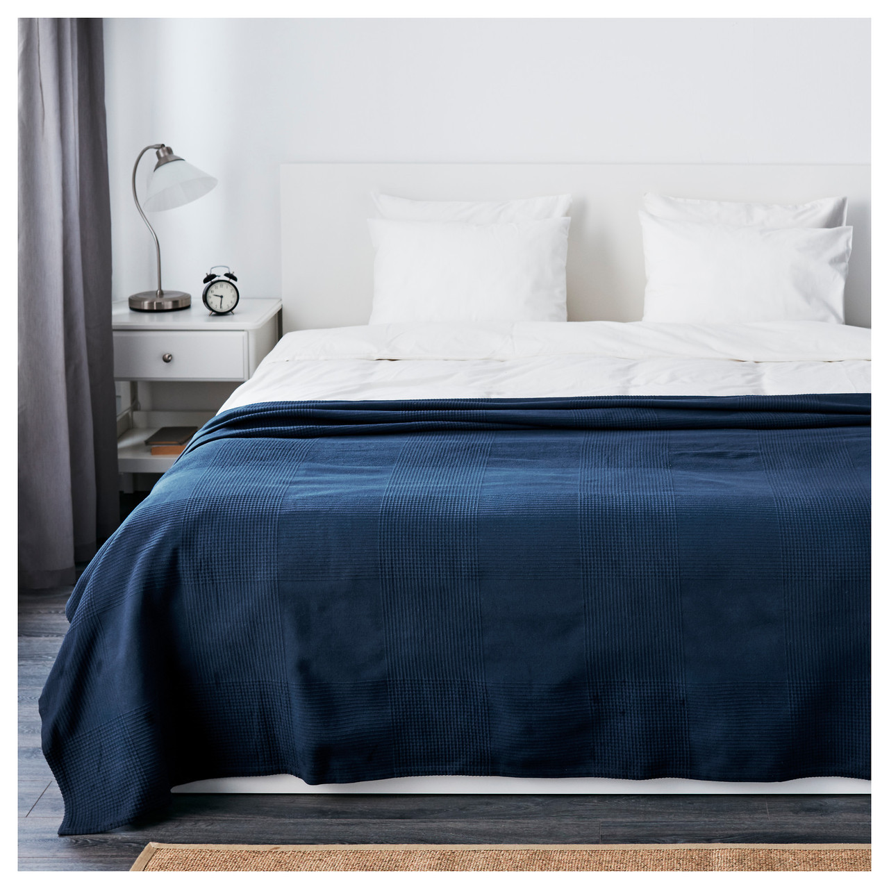 ИНДИРА Покрывало, темно-синий, 250x230 см 10396246 ИКЕА, IKEA, INDIRA