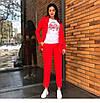 Классический брючный костюм удлиненный пиджак жакет прямые брюки красный коралловый, фото 6