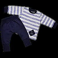 Трикотажный комплект для новорожденных Морячок с начесом, Размер детской одежды 80