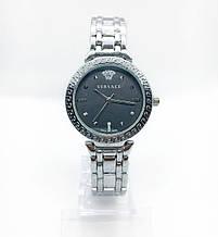 Женские наручные часы Versace (Версаче), серебро с черным циферблатом