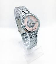 Женские наручные часы Versace (Версаче), серебро с розовым циферблатом