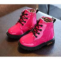 Лакированные ботинки с мехом Dinimigi малиновые Размер: 21-34