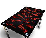 """Стол кухонный стеклянный """"С любовью"""". Цвет и размер можно изменять. Есть фотопечать и матировка., фото 2"""