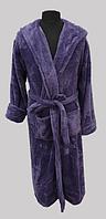 Халат махровый женский длинный c капюшоном Welsoft (TM Zeron) фиолетовый,  Турция